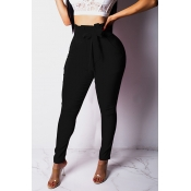 Lovely Chic Lace-up Black Pants