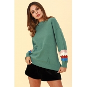 Lovely Chic Patchwork Loose Green Cotton Sweaters