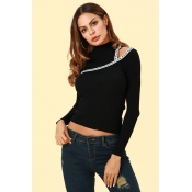 Lovely Casual Dew Shoulder Black Sweaters