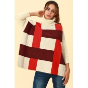 Lovely Chic Turtleneck Slit  Bright Red  Sweaters