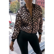 Lovely Casual Sequined Decorative Gold Jacket
