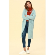 Lovely Casual Pockets Blue Blending Cardigan Sweat