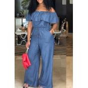 Lovely Casual Bateau Neck Flounce Blue Denim One-p