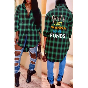 Lovely Casual Letters Printed Green Blending Plaid T-Shirt