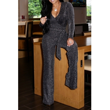 Lovely Sexy Long Sleeves Belted Silver One-piece Jumpsuit