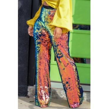 Lovely Euramerican Sequined Design Blending Loose Pants