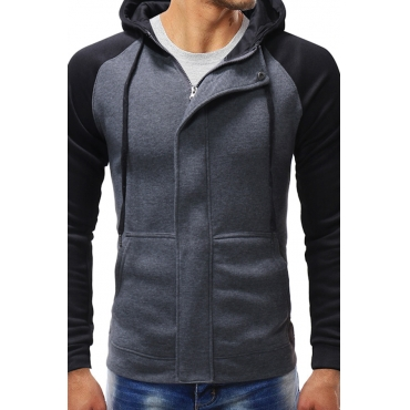Lovely Casual Patchwork Dark Grey Polyester Cotton Hoodies