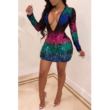 Lovely Fashionable Multicolor Sequined Decorative Blending Mini Dress(Non Positioning Printing)