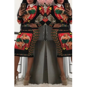 Lovely Casual Printed Black Knitting Two-piece Skirt Set