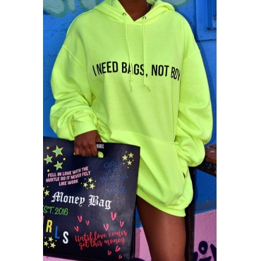 Lovely Casual Letters Printed Green Cotton Blends Mini Dress