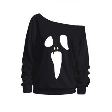 Lovely Casual Sloping Shoulder Halloween Black Hoodies
