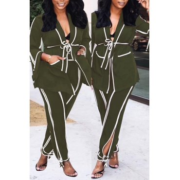 Lovely Fashionable Striped Army Green Two-piece Pants Set