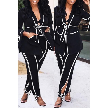 Lovely Fashionable Striped Black Two-piece Pants Set