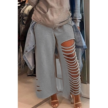 Lovely Trendy Broken Holes Grey Cotton Pants