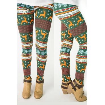 Lovely Trendy Christmas Printed Green Leggings