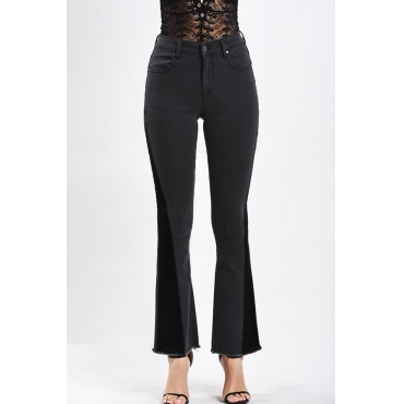 Lovely Fashion Dark Grey Denim Bell-bottoms