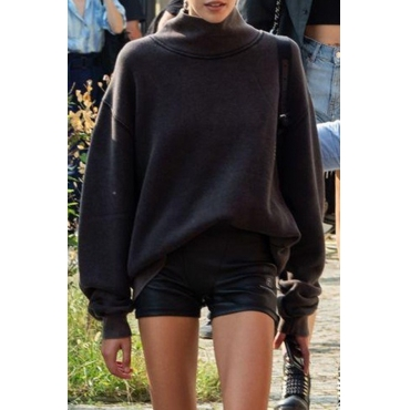 Lovely Casual Long Sleeves Black Cotton Hoodies