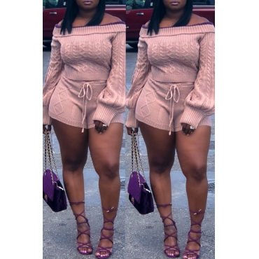 Lovely Sweet Long Sleeves Pink Sweater Two-piece Shorts Set