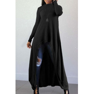 Lovely Casual Long Sleeves Irregular Black Blending Sweaters