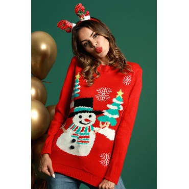 Lovely Fashion Long Sleeves Snowman Pattern Red Cotton Sweaters