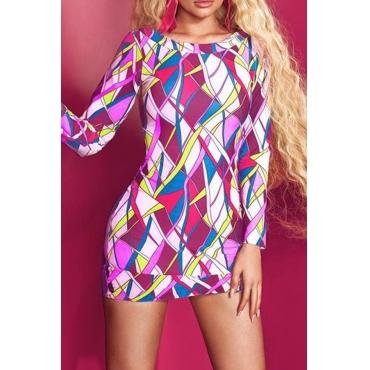 Lovely Sweet Long Sleeves Multicolor Printing Mini Dress