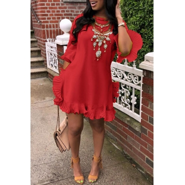 Lovely Sweet Ruffle Design Red Blending Mini Dress