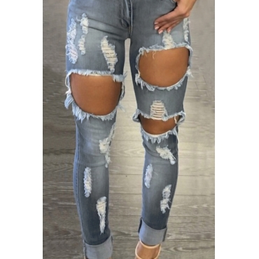 Lovely Euramerican High Waist Broken Holes Blue Denim Pants