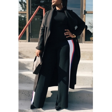 Lovely Casual Long Sleeves Black Cotton Coat