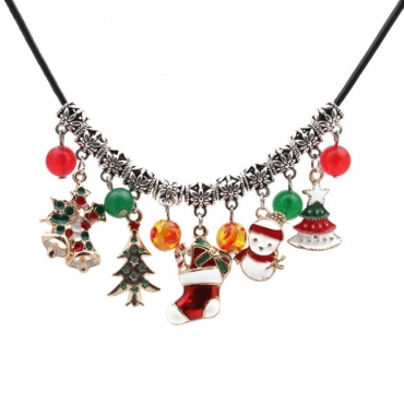 Lovely Fashion Christmas Tree Snowman Pendant Necklace