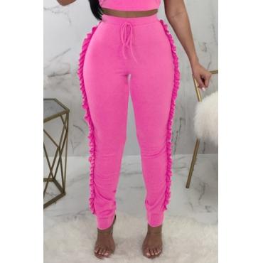 Lovely Trendy Ruffle Design Pink Knitting Skinny Pants