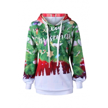 Lovely Casual Christmas Trees Green Twilled Satin Hoodies