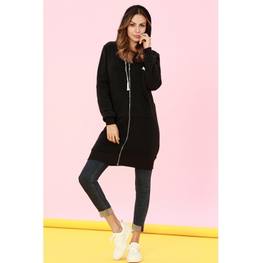 Lovely Casual Long Sleeves Black Long Coat
