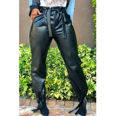 Lovely Casual Lace-up Black PU Pants