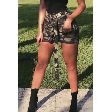 Lovely  Casual Camouflage Printed Army Green Cotton Blends Mini Skirts