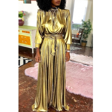Lovely Trendy Loose Gold  One-piece Jumpsuit (Without Belt)