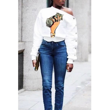 Lovely Casual Dew Shoulder  Printed White T-shirt