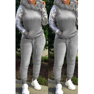 Lovely Casual Sequined Patchwork Grey Two-piece Pants Set