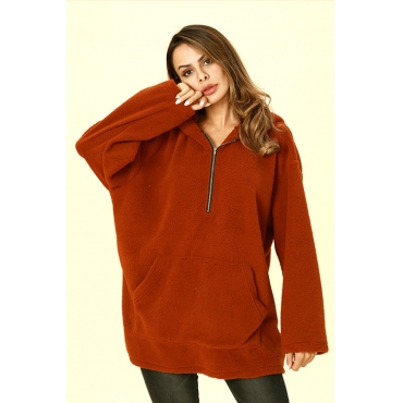 Lovely Casual Hooded Collar Brown Hoodies