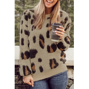 Lovely Casual Long Sleeves Leopard Pattern Sweaters