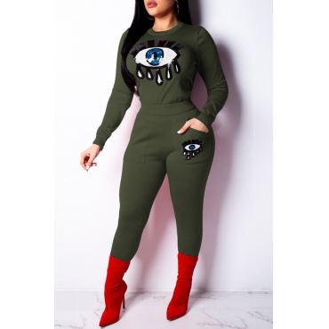 Lovely Trendy Sequined Decorative Green Two-piece Pants Set