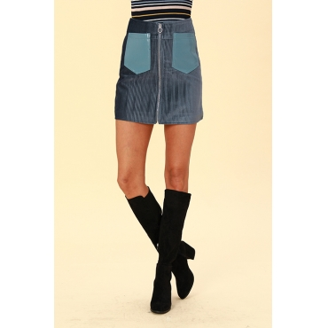 Lovely Chic Zipper Design Blue  Mini Skirts