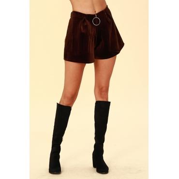 Lovely Chic Loose Coffee Velvet Shorts