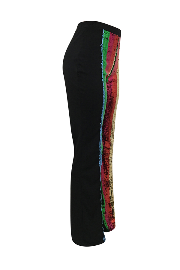 Lovely Euramerican Patchwork Black Twilled Satin Pants