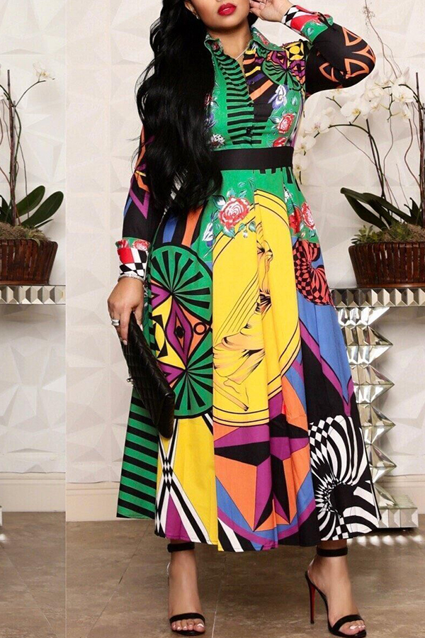 Lovely Casual Printed Multicolor Ankle Length Dress