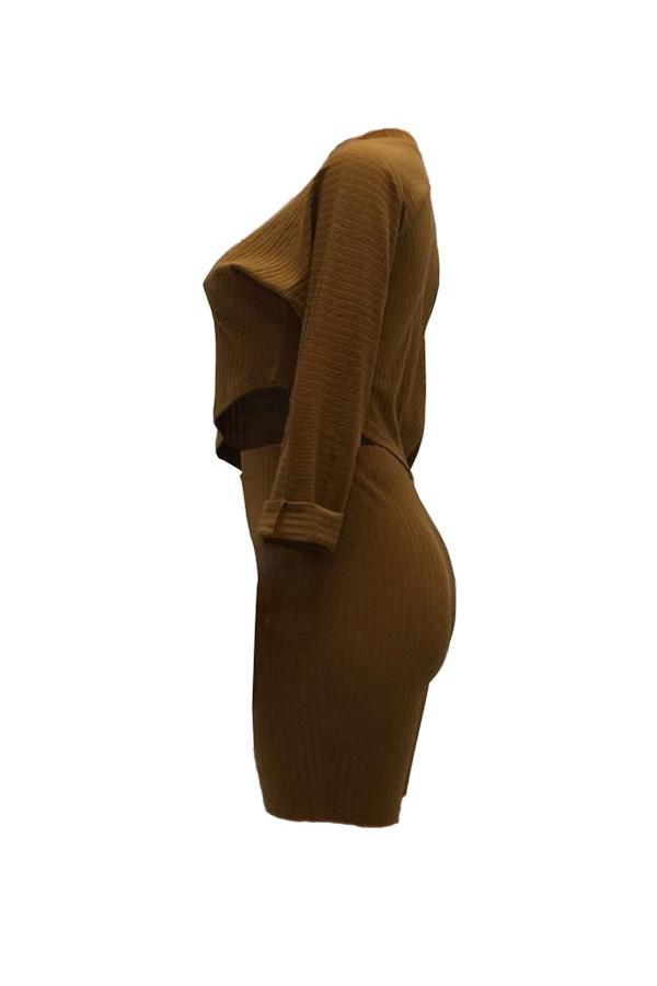 Lovely Casual Oblique Hem Khaki Two-piece Shorts Set