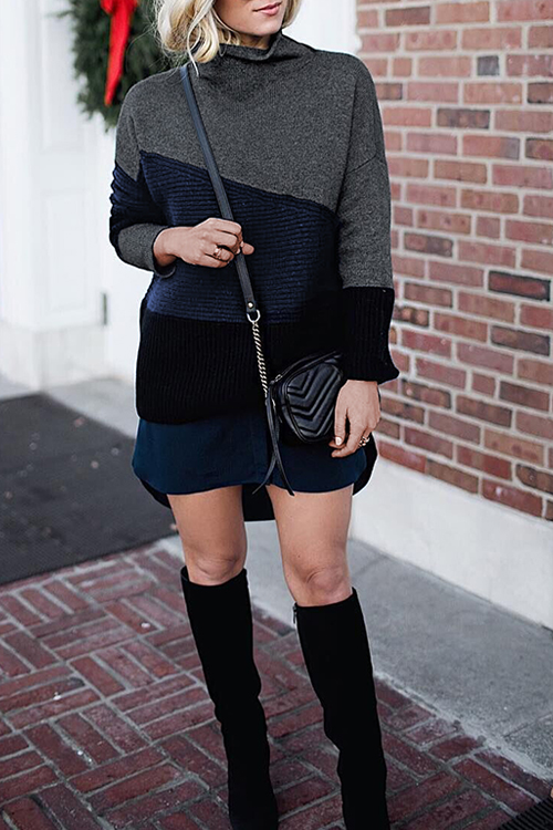 Lovely Casual Long Sleeves Patchwork Black Sweaters