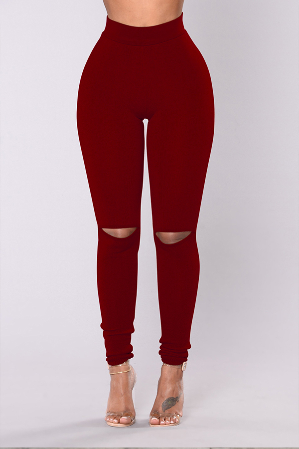 Lovely Casual  Hollowed-out Skinny Wine Red Pants