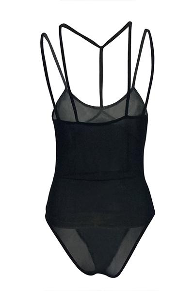 Lovely Sexy See-Through Black Gauze Bodysuit