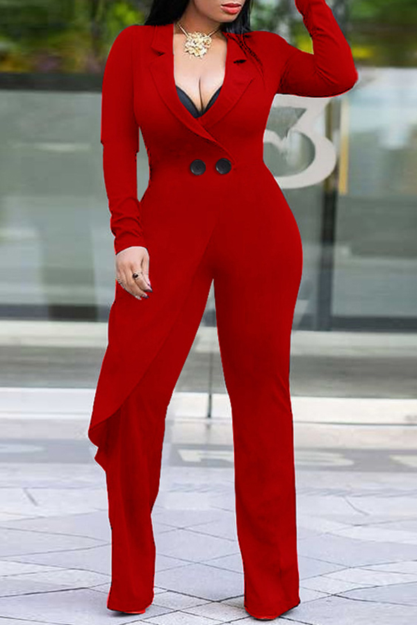 Lovely Trendy Asymmetrical Red Knitting One-piece  Jumpsuit