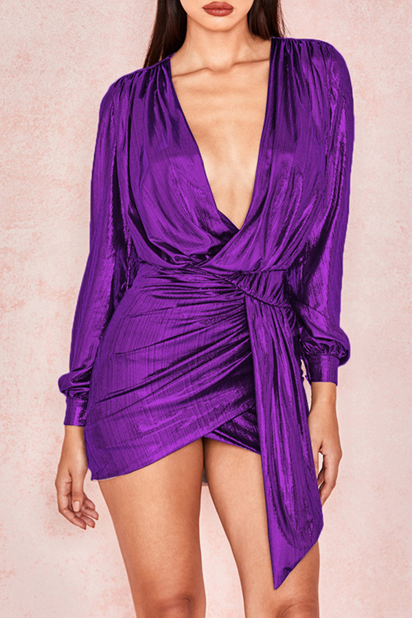 Lovely Trendy Puffed Sleeves Purple Mini  Dress